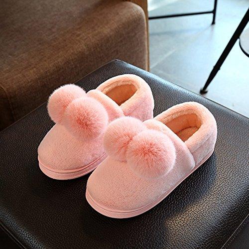 Hoxekle Donna Uomo Morbido Inverno Pelliccia Casa Pantofola Antiscivolo Fumetto Pom Pom Velluto Paio Pantofole Casa Rosa