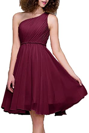 Prom Dresses Short Cocktail Dress One Shoulder Prom Formal Dresses For Women Bridesmaid, Color Wine