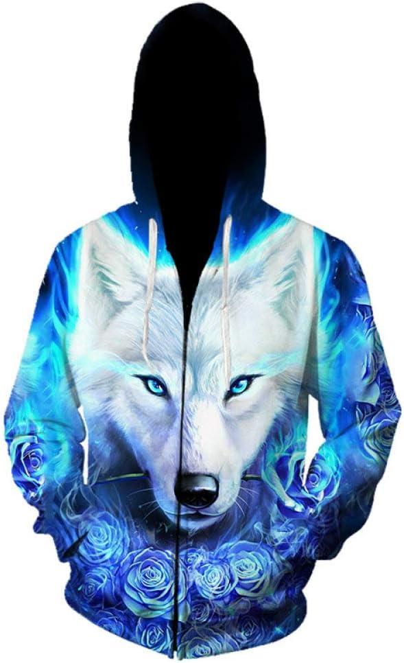 Leichte L/ässige Pullover Sweatshirts AGAGRG Kapuzenpullover 3D Druck,Unisex Hoodies Blau Rose Blume Wolf 3D Gedruckt Drawstring Taschen Zip Up Kapuzen Sweatshirts Pullover Mit Taschen