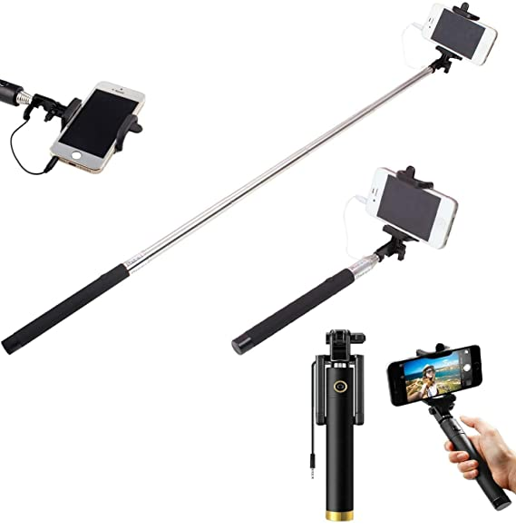 OUD Smart Gen Compact Wired Selfie Stick with Remote Control monopod for Perfect Click Photos for iPhone and Android   Black