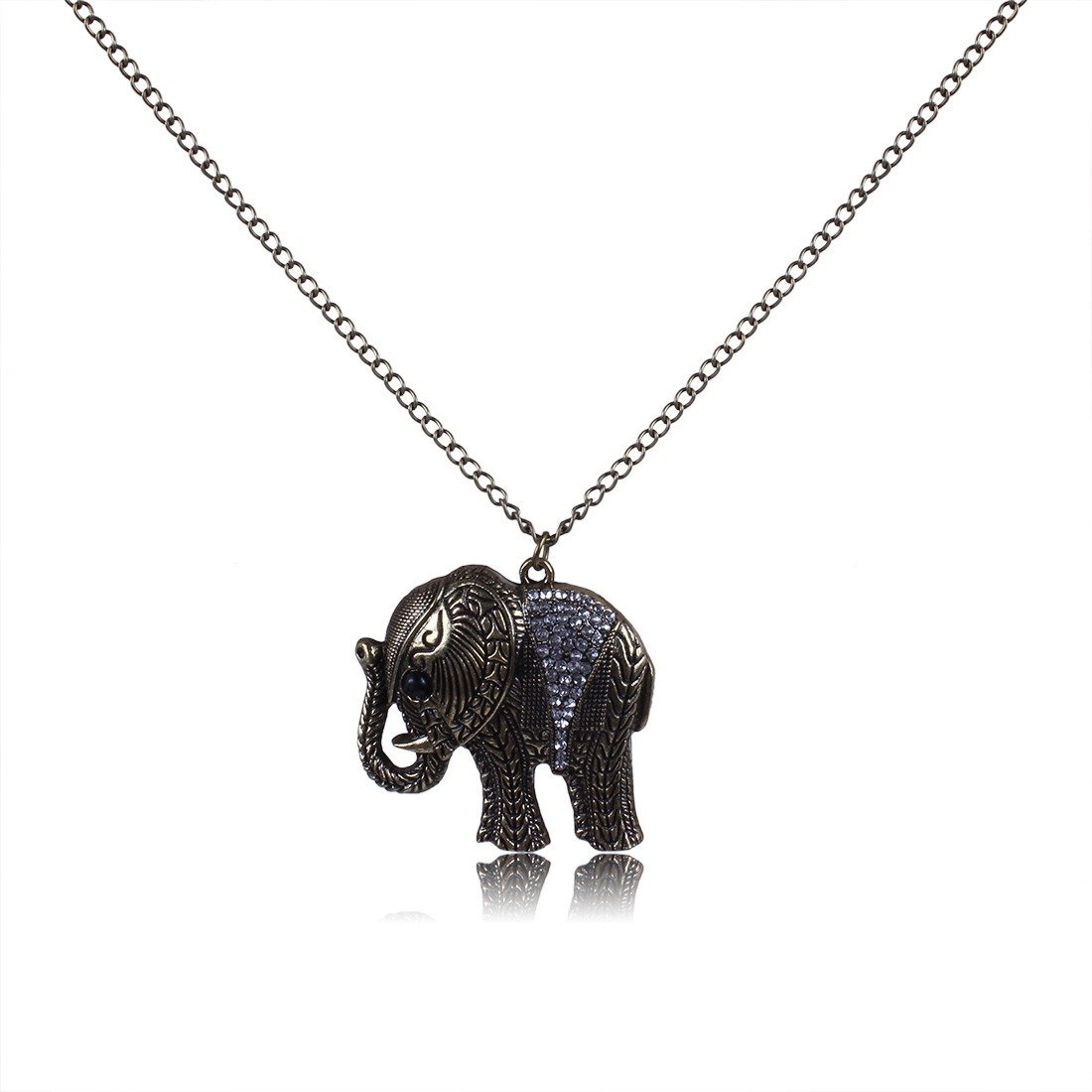 Qiyun Fortune Brings Animal Elephant Antique Brass Tone Pendant Chain Necklace Cz Animaux Laiton D'e le phant Cz Collier W005N1361