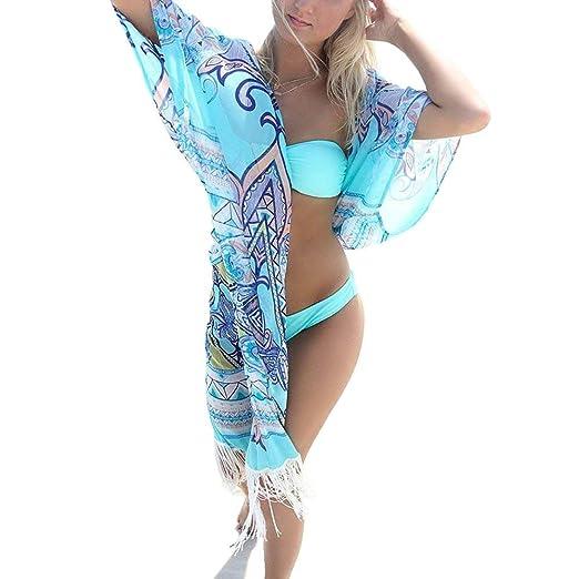 ea05c1a662 ESPRELA Swimsuit Cover Up Bathing Suit Swimwear Beach Coverup for Women  Cardigan Bikini Dress (One Size, Blue) at Amazon Women's Clothing store: