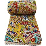 Rajasthali Indian Cotton Bedspread King Size Floral Print Kantha Stitch, 90 X 108 Inches
