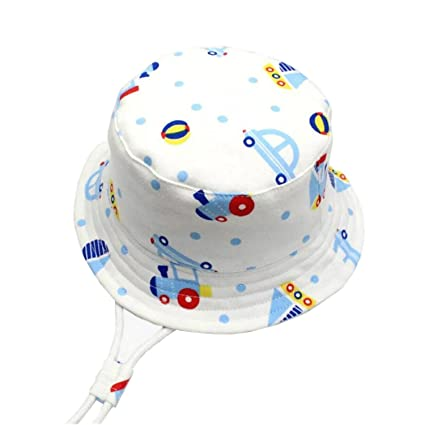843602a5f46 GAOU Baby Boys  Sunhat Beach Hat Cotton Cartoon Hat Summer Outdoor UPF50+  With Adjustable Chin Strap Aged 6M-3Y  Amazon.co.uk  Kitchen   Home