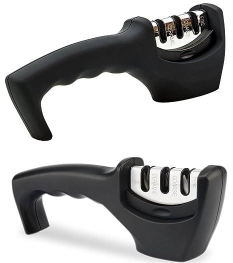 PECHAM forma manual con 3 etapas afilador sistema cuchillo Afilador Adecuado para cuchillos de cocina, cuchillos de acampar, navajas, cuchillos de ...