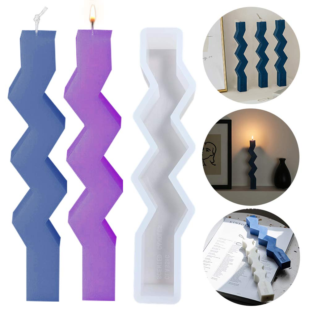 Long Wave Pillar Wax Candle Mould Candles Making Silicone Moulds Soap Crystal Jewelry Epoxy Casting Resin Mold for Handmade Decorating Art Gift Clay DIY Craft
