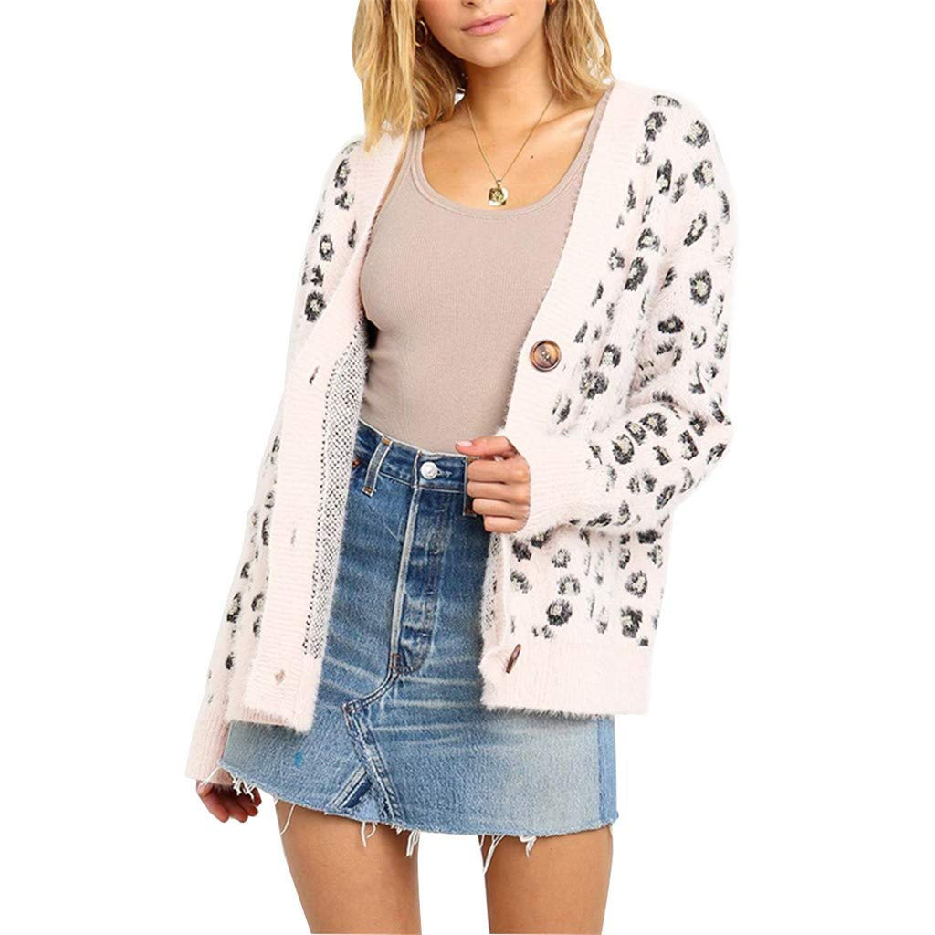 WUAI-Women Autumn Winter Oversized Sweater Cardigan Leopard Button Down Open Front Loose Knitted Jumper(White,Medium by WUAI-Women