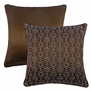 """2 X OPHELIA STARS BROWN SILVER FAUX SILK EMBROIDERED PIPED CUSHION COVERS 17"""" - 43CM"""