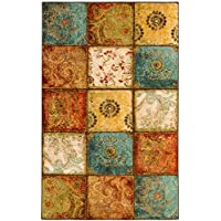 Mohawk Free Flow Artifact Panel Patchwork Printed Area Rug and Rug Pad Set, 5'x8', Multicolor