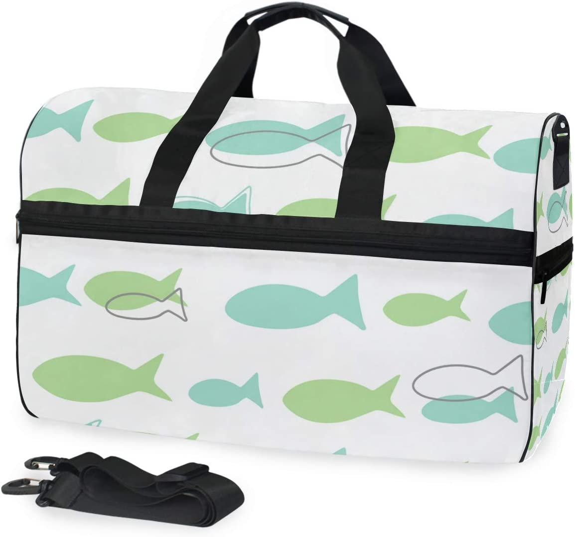 FANTAZIO Cartoon Fishes Sports Bag Packable Travel Duffle Bag Lightweight Water Resistant Tear Resistant