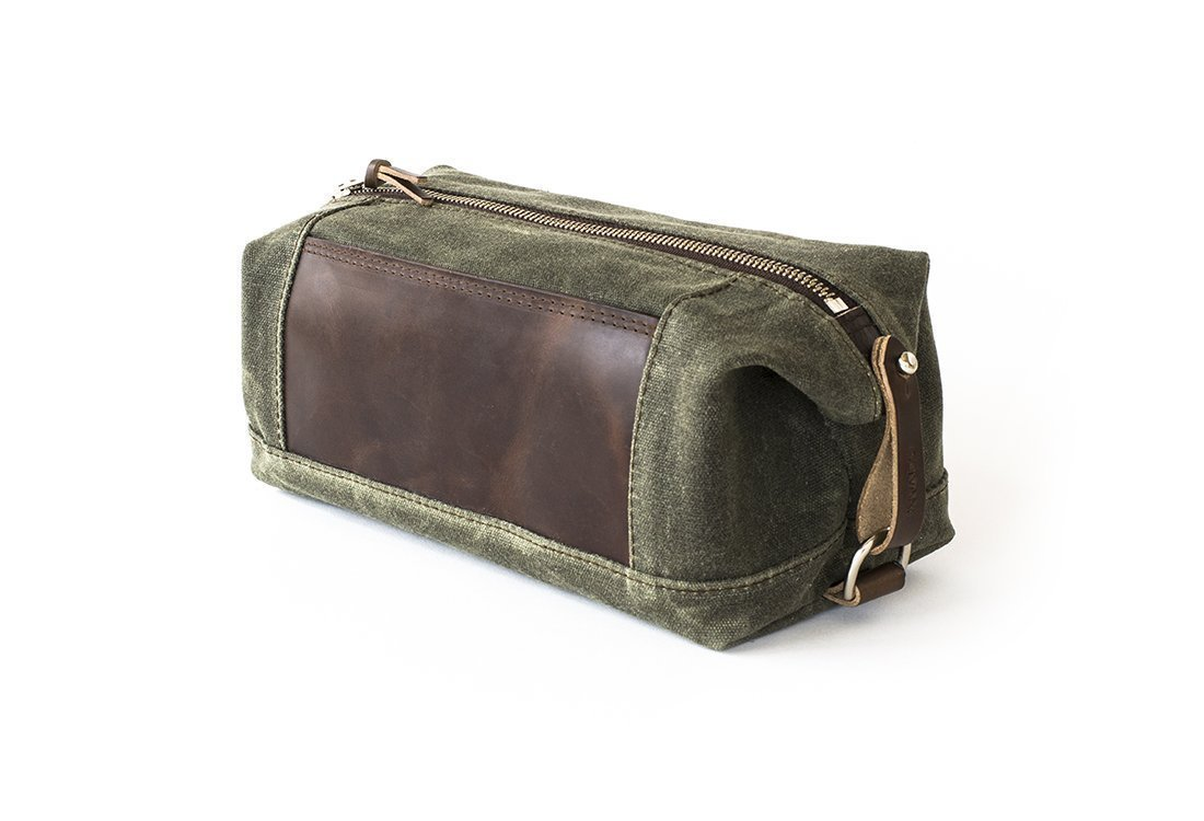 Waxed Canvas Dopp Kit: Expandable, Water-Resistant, Hanging Toiletry Bag, Travel, Olive Green - No. 321 (Made in the USA)