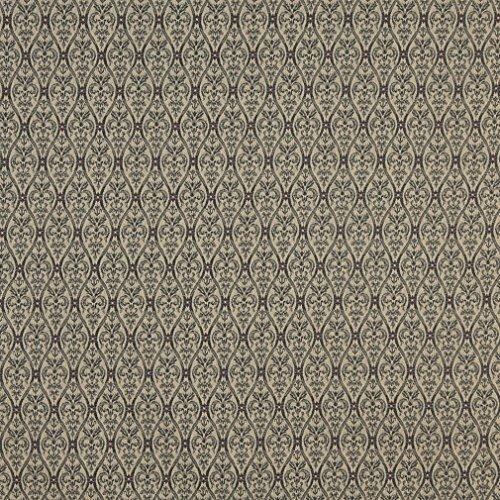(A480 Tan and Midnight Waves Lines and Foliage Upholstery Fabric by The Yard)