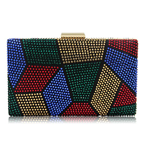 Sparkling Multicolored Rhinestone Evening Clutch Handbag Cocktail Crystal Clutch Purses Prom For Women (Multicoloured) Evening Clutch