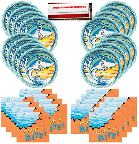 Sharks Shark Week Party Supplies Bundle Pack for 16 Guests (Plus Party Planning Checklist by Mikes Super Store)