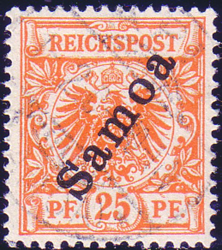 Goldhahn Samoa Nr. 5 b gestempelt geprüft Briefmarken für Sammler