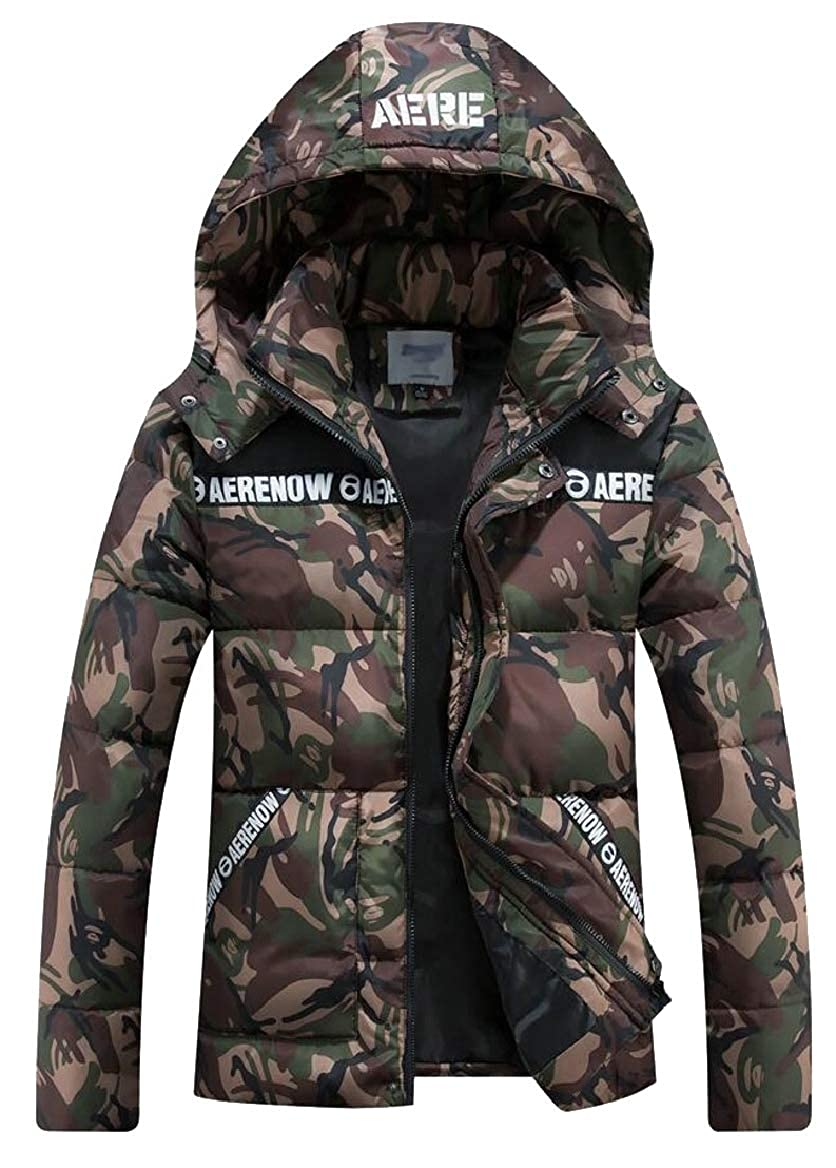 ouxiuli Mens Outwear Thicken Print Hooded Long Sleeve Down Jacket Coat