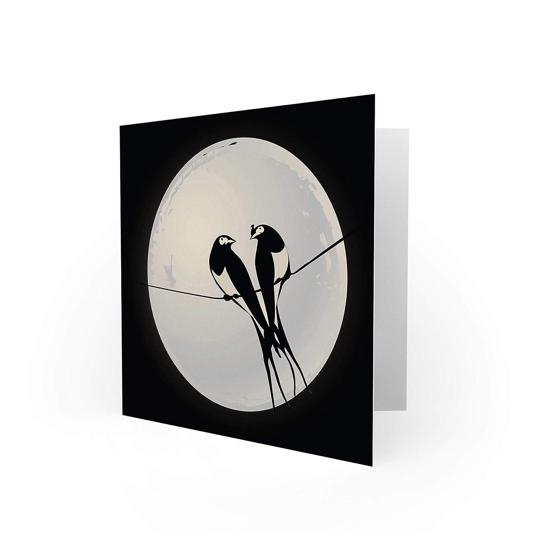 Bird Moon Animal Love Romance Valentines Swallow Blank