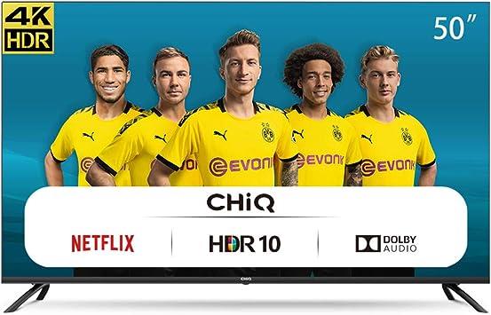 CHiQ Televisor Smart TV LED 50 Pulgadas 4K UHD, HDR 10/HLG, WiFi, Bluetooth, Youtube, Netflix, Prime Video, 3 x HDMI, 2 x USB: Amazon.es: Electrónica