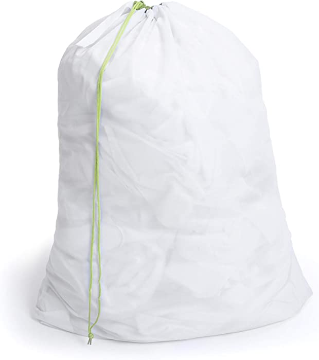 Smart Design Jumbo Heavy Duty Mesh Laundry Bag w/Push Lock Drawstring - VentilAir Mesh Material - for Clothes & Laundry - Home Organization (Holds 3 Loads) (40 x 30 Inch) [White]