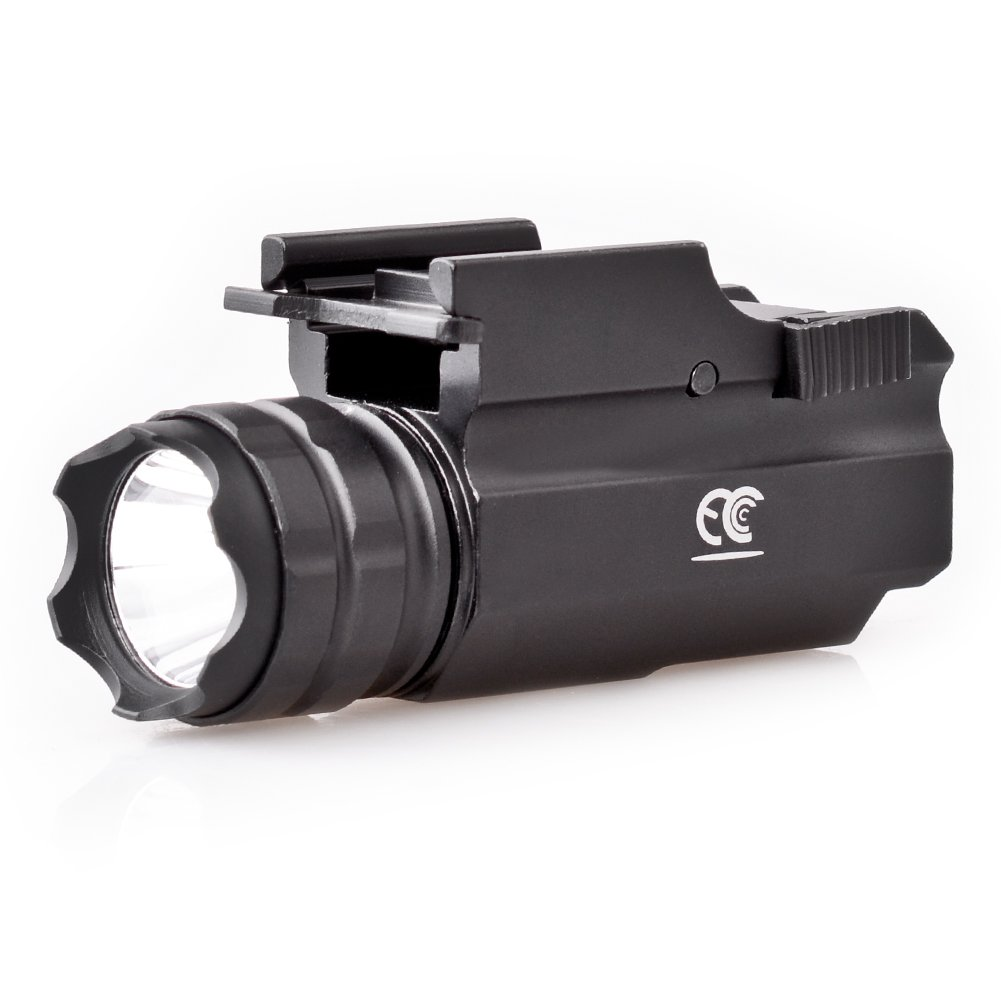 MCCC 230 Lumens LED Rail Mount Tactical Gun Flashlight Pistol Light with Strobe&Weaver Quick Release for Hunting, Black