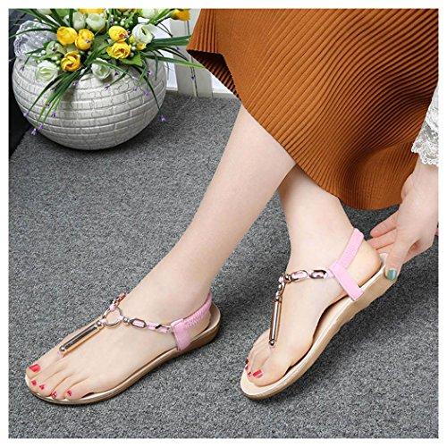 Sommer Sandaler, Inkach Kvinners Flate Sandaler Perle Bohemia Peep Toe Flip Flops Sandaler Rosa