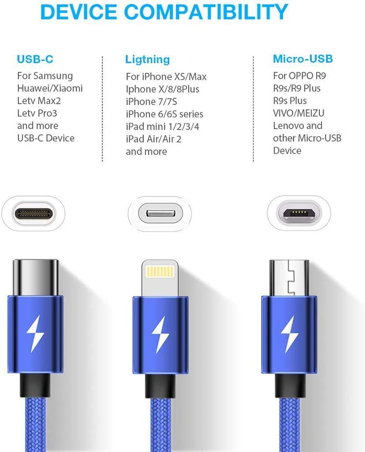 Wheel with Fire Wings Multi Charging Cable Multi Charger USB Cable 3 in 1 Charging Cable for Phones /& Tablets