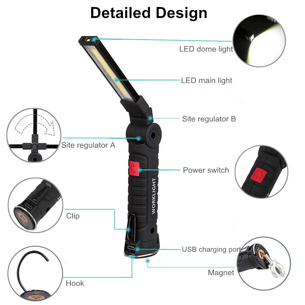 WOLIBEER Foldable Flashlight USB Rechargeable Black Portable LED Work Light Large Size Waterproof COB Inspection Light Torch with Magnetic Base and Hook for Repairing Working Camping