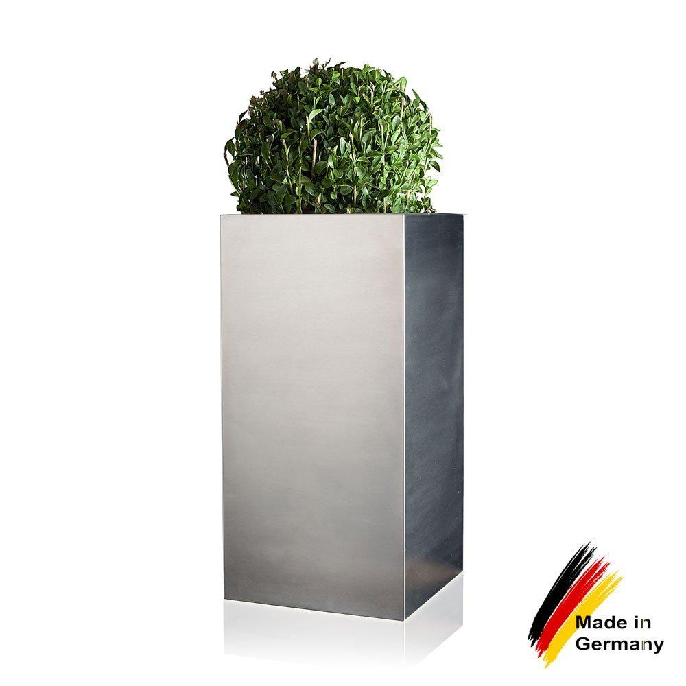 Pflanzkübel Blumenkübel TORRE 60 Edelstahl gebürstet, 30x30x60 cm ...