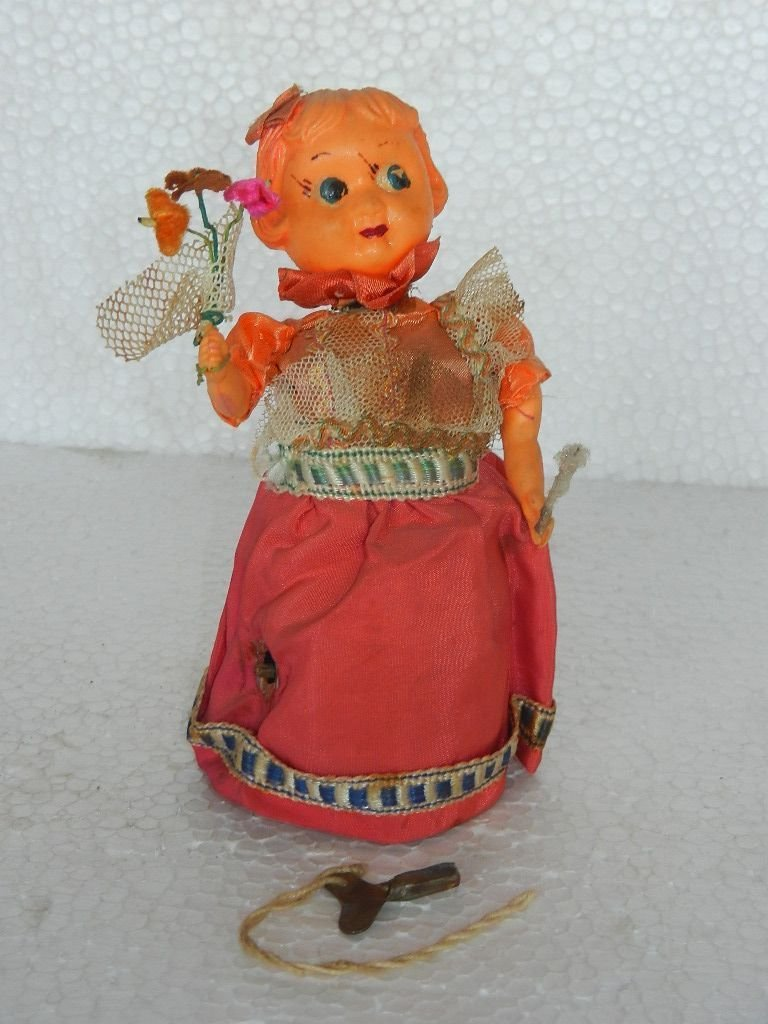 Vintage Wind Up Doll With Stick & Flower Litho Tin Toy , Japan