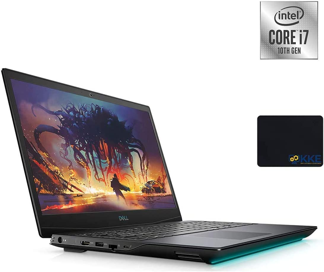 Dell 2020 G5 15.6'' FHD Gaming Laptop, Intel i7-10750H, NVIDIA GTX 1650Ti, 32GB DDR4 RAM, 1TB PCIe Solid State Drive + 2TB HDD, HDMI, WiFi, Backlit Keyboard, KKE Mouse Pad, Win10 Home (Renewed)