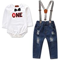 First Birthday Newborn Baby Toddler Boy Cake Smash Outfits Photography Prop Formal Event Romper Suspender Jeans Pants…
