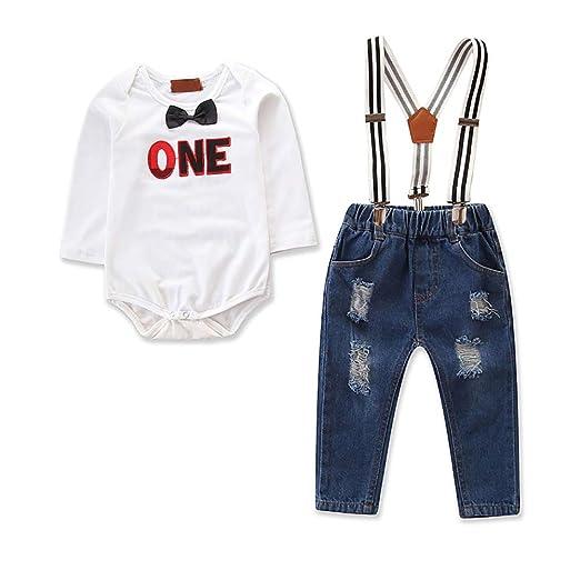 da13bc7b3 IBTOM CASTLE Infant Baby Boys Long/Short Sleeve Formal 1st Birthday Dress Shirt  Overalls Romper