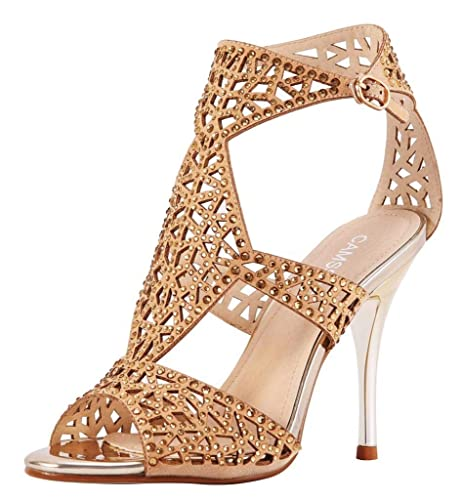 09807847fa4 CAMSSOO Women s Sparkle Crystal Cutouts Stiletto Ankle Strap High Heels  Party Dress Sandals Gold Velveteen Size