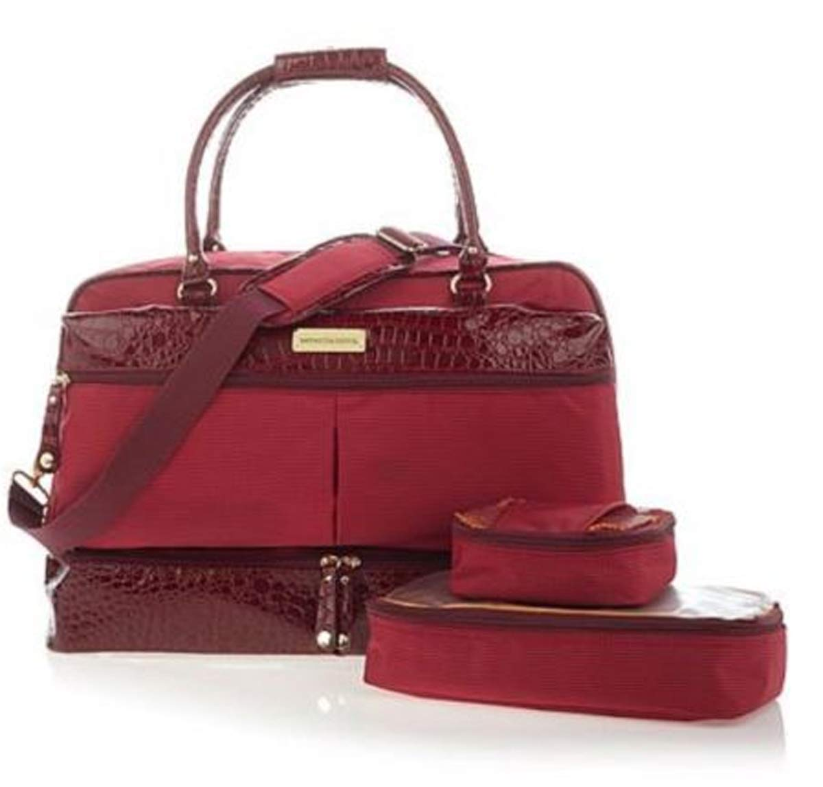 Samantha Brown, Drop Bottom Satchel with 2 Zippered Cubes, Burgundy by Samantha Brown