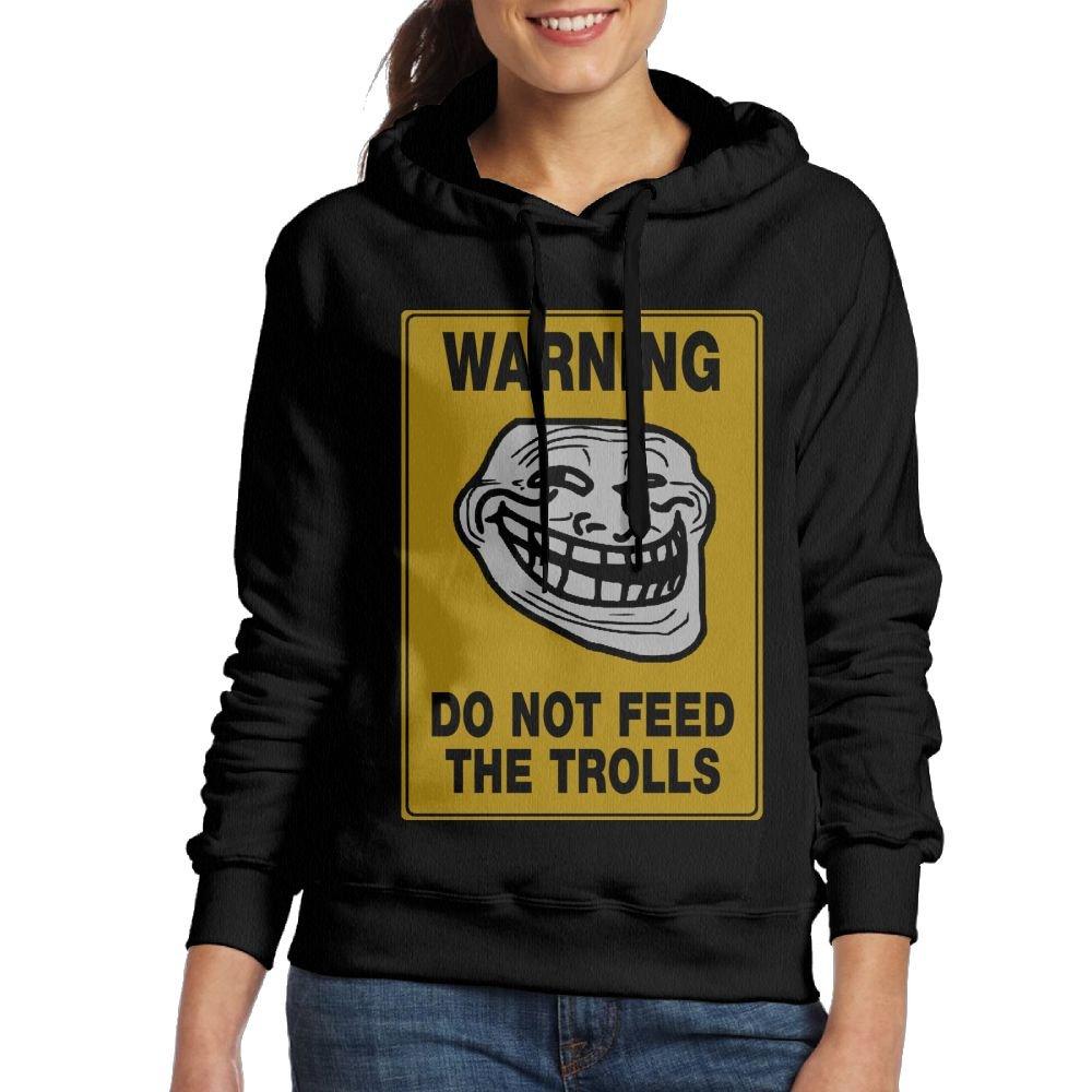 SmallTing WXF Women Boys Do Not Feed The Trolls Funny Baseball Black Sweater