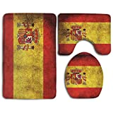 HOMESTORES Vintage Spain Flag Skidproof Toilet Seat U Shape Cover Bath Mat Lid Cover 3 Piece Non Slip Bath Rug Mats Sets For Shower SPA