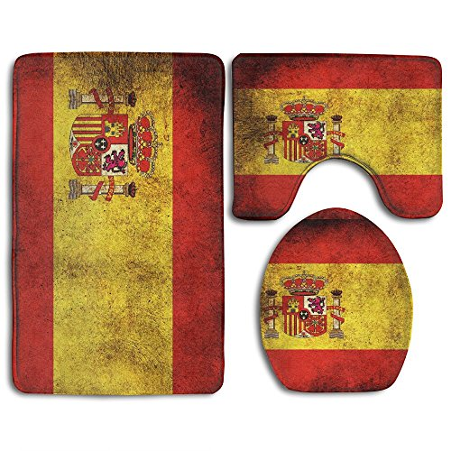 HOMESTORES Vintage Spain Flag Skidproof Toilet Seat U Shape Cover Bath Mat Lid Cover 3 Piece Non Slip Bath Rug Mats Sets For Shower SPA by HOMESTORES