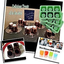 Triple 3 Sets of 6 Cups Round Square Shape Ice Shot Glass Maker, Chocolate Mold, Jelly Ice Cube Tray. FDA Food Grade Silicone, Stylish Ice Mug Craft Tool in Sets Color: Green by DidaDi