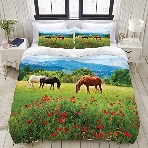colorful horse print bedding set