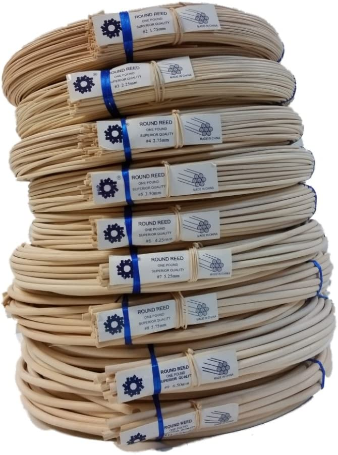 1 Pound Coil of Round Reed for Basket & Wicker Weaving, Natural Color, Any Size, 2,3,4,5,6,7,8,9,10 (#5) 61A1ptsepbL