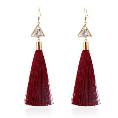 Gahrchian Women Long Earrings Plush Ball Long Gold Plated Earrings Jewelry Elegant Sweet Gift for Friends Sister Lover (5 Red): Clothing
