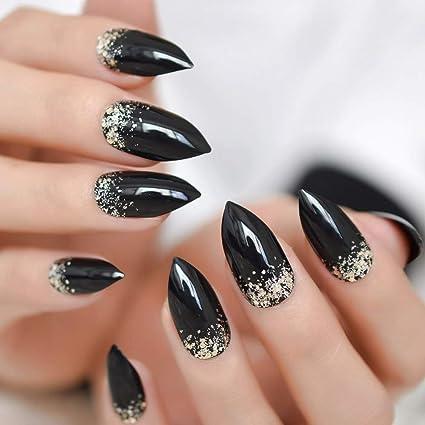 EchiQ - Juego de 24 uñas postizas clásicas de color negro con purpurina brillante, fáciles