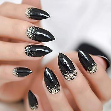 EchiQ - Juego de 24 uñas postizas clásicas de color negro ...