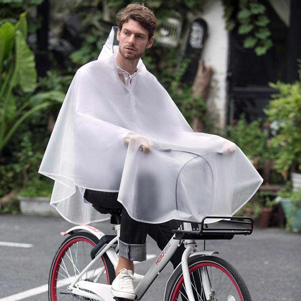SHUHANX Waterproof Rain Poncho Bicycle Raincoat Adult Riding Outdoor Poncho Transparent Big Brim Poncho Moon gray