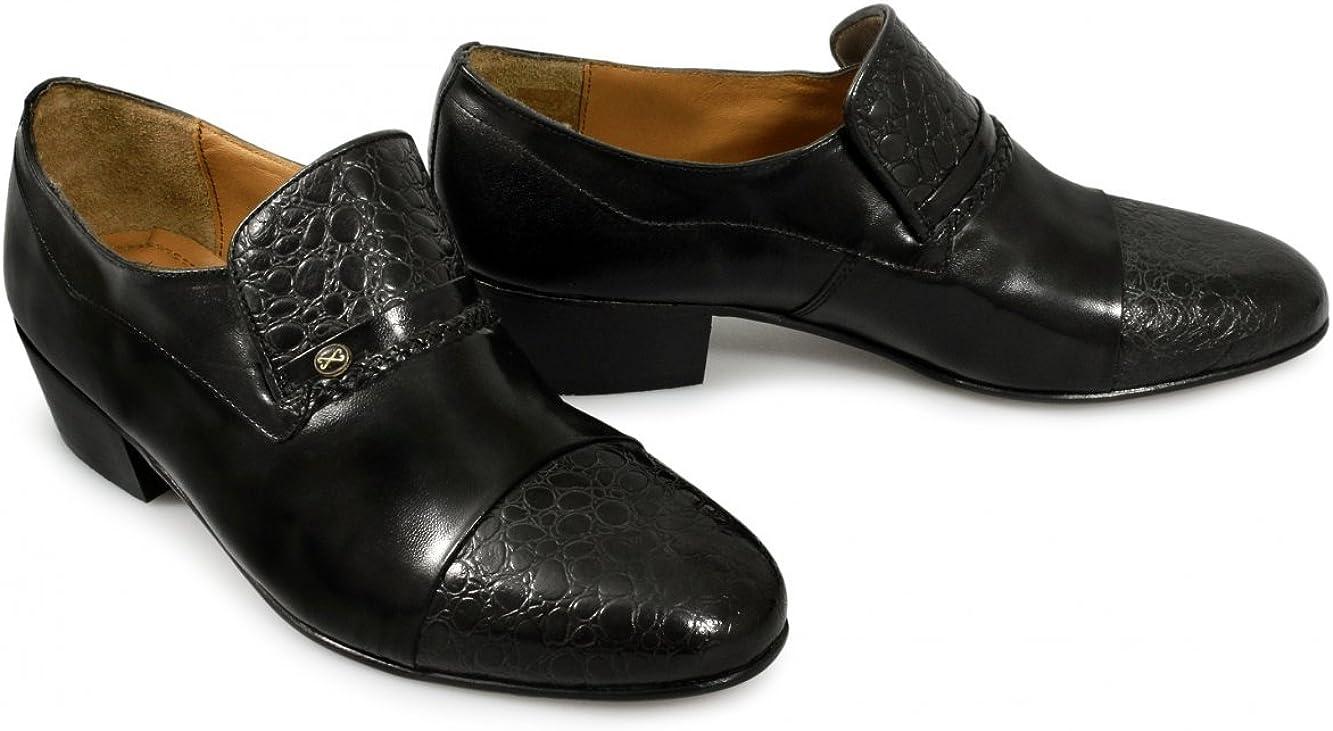 Homme Kensington Talon Cubain Chaussures en cuir noir à enfiler en cuir à semelle Boxed