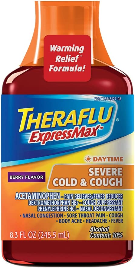 Theraflu Expressmax Syrup For Daytime Severe Cold And Cough Berry Cough Syrup 8 3 Ounces