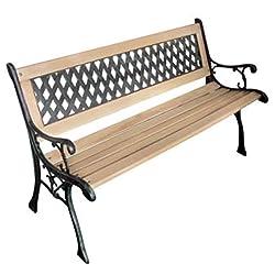 vidaXL Patio Outdoor Vintage Wooden and Iron Garden Bench w/Diamond Pattern Backrest
