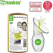 Haakaa Manaul Breast Pump with Flower Stopper 100% Food Grade Silicone BPA PVC and Phthalate Free (3.5oz/90ml) (White)