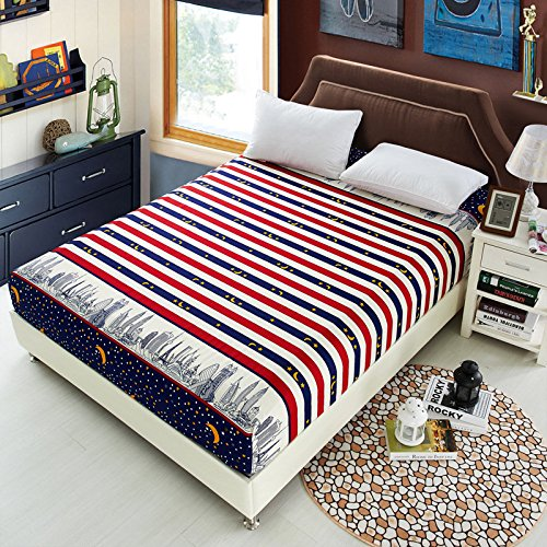 Linen Paper Bonk Shroud - Polyester Fashionable Fitted Elastic Bedsheet Mattress Cover Bedding Linen Bed Sheet - Eff Canvass Bang Plane Jazz Flat Solid Lie Seam Sail Bottom - 1PCs by Unknown (Image #5)