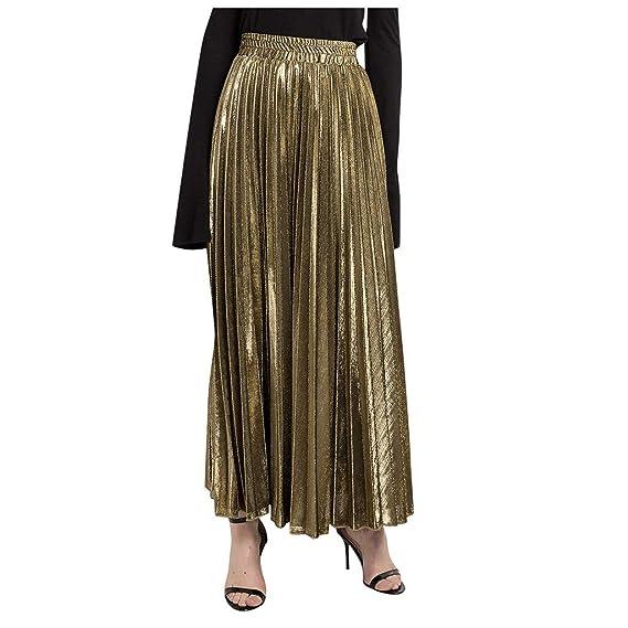 QinMMROPA Falda Plisada de Cintura Alta para Mujer Elegante Falda ...